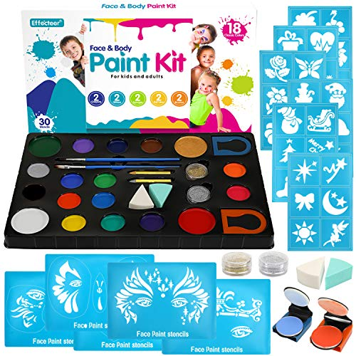 Face Paint Kit for Kids, 18 Large Water Based Paints, 4 Large Stencils, 36 Small Stencils, Professional Non-Toxic Face Painting Makeup Kits for Halloween or Birthday Party, Safe to Sensitive Skin