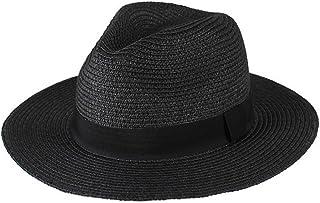 Goquik Sombrero para el Sol, Sombrero de Playa para Vacaciones de Verano para Hombres, Plegable, Aleros Anchos, Sombrero de Panamá (Color : Negro)