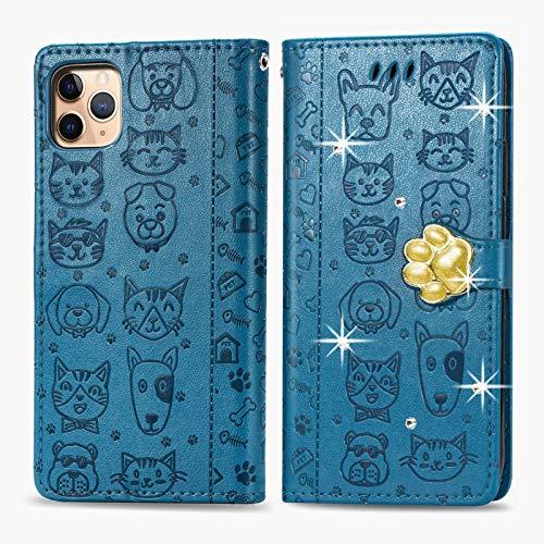 Oihxse Mignon Case Compatible pour iPhone 6+Plus/6S+Plus Coque Housse Étui Cuir PU Portefeuille avec Carte Fentes Fonction Stand Motif Chat et Chien Brillant Glitter Diamant Cover,Bleu