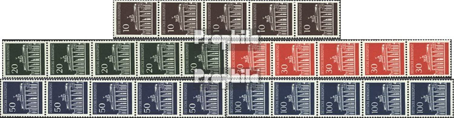 FRD (FR.Germany) 506w R-510w R five strips (complete.issue.) Mat gumming 1966 Brandenburg Tor (Stamps for collectors)