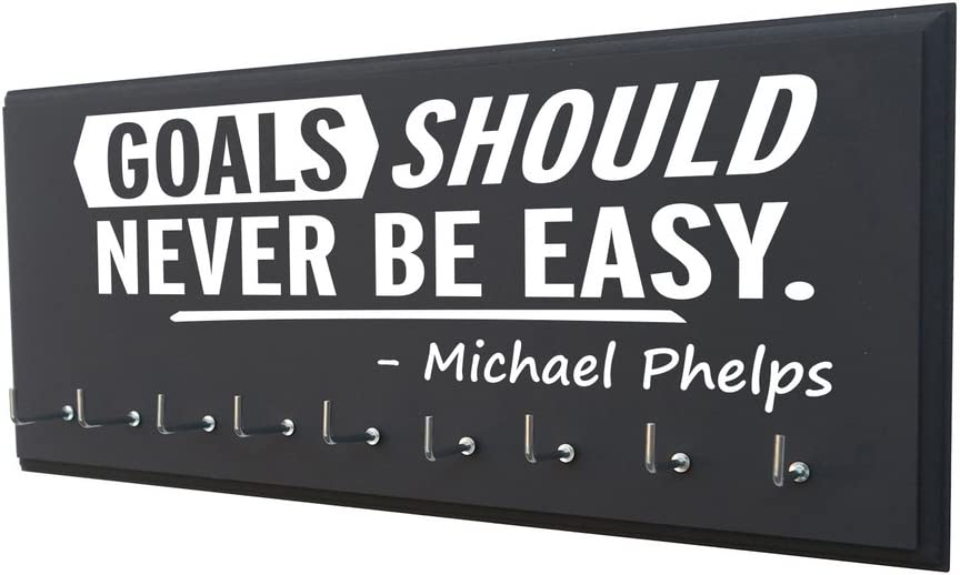 Swimming Medals Ribbons Display Kids RunningontheWall Swimming Medal Holder Michael Phelps Swimmer Gifts Swimming Gifts for Girls Goals Should Never BE Easy