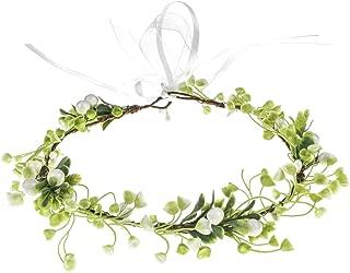 DreamLily Women Leaf Headpiece Bridal Floral Crown Green Hair Wreath Bohemian Headpiece Grecian Wedding Crown XM04