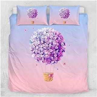 W-L Funda Nórdica Acuarela Paquete de Ropa de Color Rosa Flor de Globo púrpura de la Lila Bola Quilt Colcha Mariposa (Size : UK King)