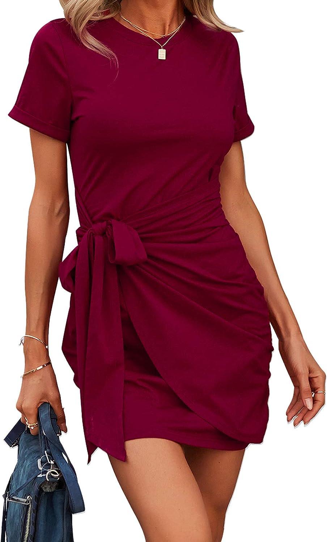 KEYZEA Women's Summer T Shirt Dress Casual Sleeveless Round Neck Tie Waist Ruched Bodycon Mini Dresses