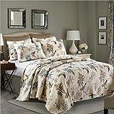 Beddingleer Gesteppt Tagesdecke 220x240 cm Baumwolle Patchwork Tagesdecken für Doppelbett Sofaüberwurf Sofadecke Sommerdecke Kuscheldecken 3 teilig