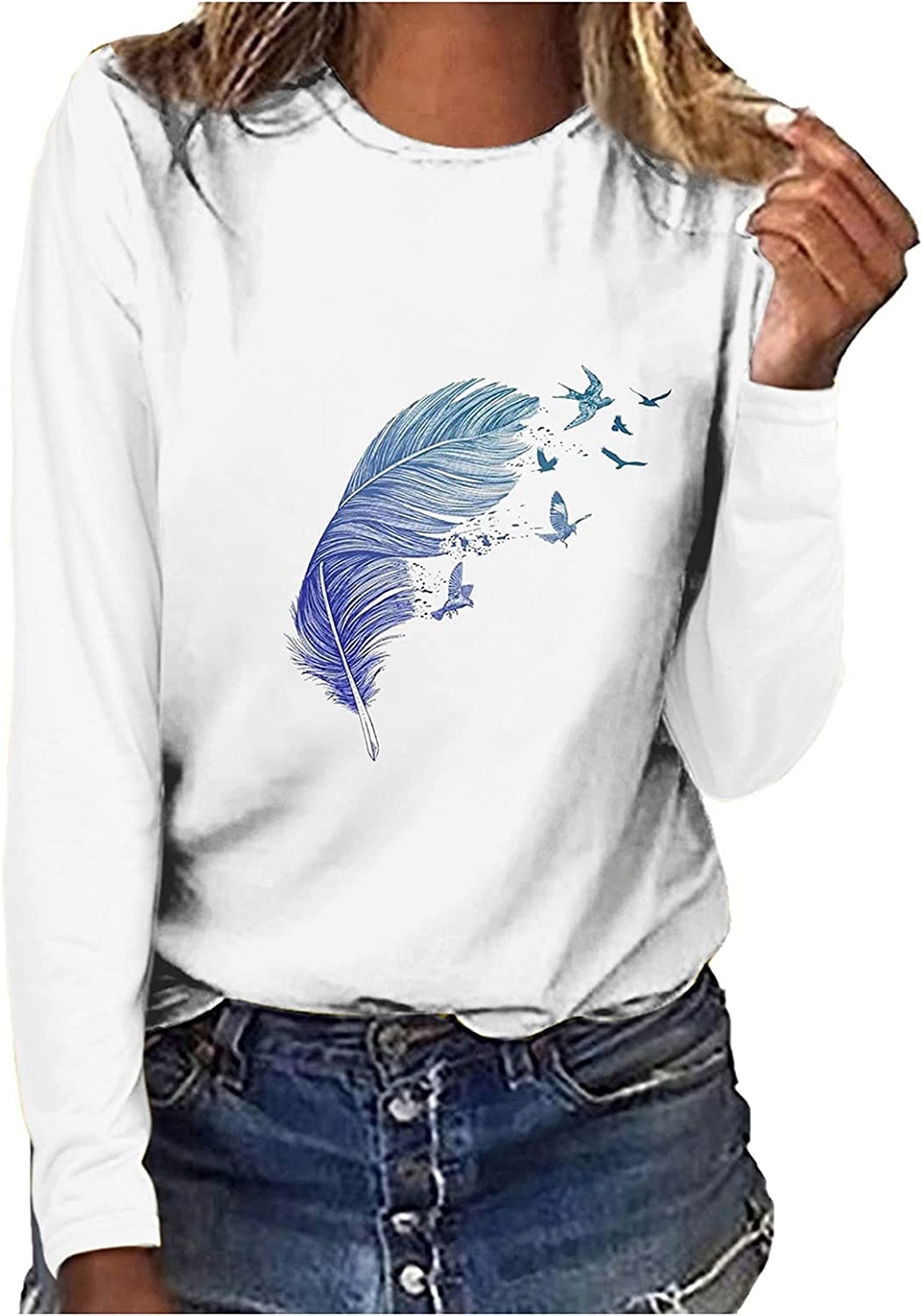 Womens Casual Long Sleeve Graphic Tee Shirts Fall Loose Tunic Blouse Crew Neck Sweatshirts Pullover Tops for Women