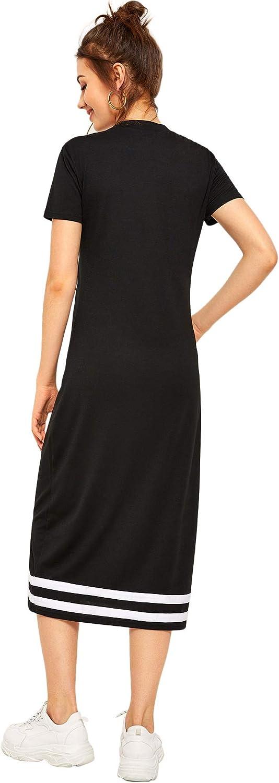 Romwe Women's Casual Striped Short Sleeve Solid Midi T-Shirt Dress
