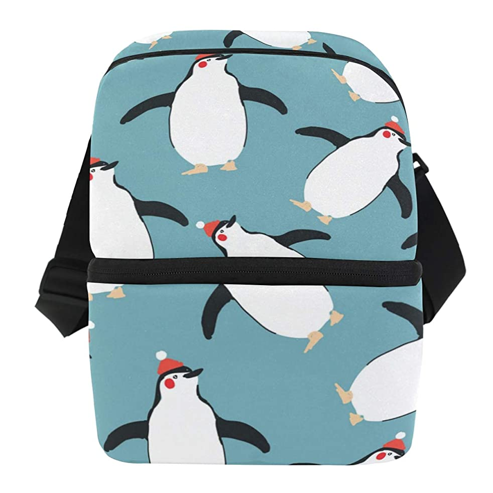 Dual Compartment Thermal Bento Lunch Bag Penguin Red Hats Insulated Cooler Work School Picnic Lunch Box with Carry Shoulder Strap