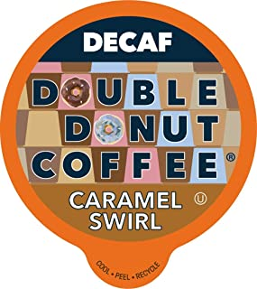Double Donut Flavored Coffee, Decaf Caramel Swirl, Recyclable Single Serve Cups for Keurig K Cup Machines, 24 count