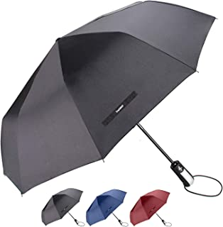 "TradMall Travel Umbrella with 10 Reinforced Fiberglass Ribs 42"" Large Canopy Ergonomic Handle Auto Open & Close, Black"