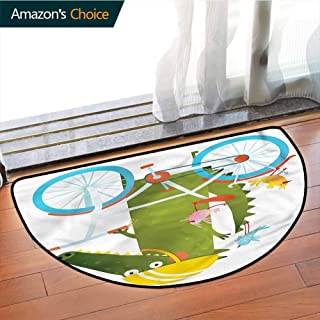 DESPKONMATS Funny Semi-Circular Living Room Rug, Crocodile Friends Bicycle Bath Mat Shower Rug Bedroom Carpet Floor Mats, Phthalate Free, Rugs for Office Stand Up Desk, Half Circle-W27.5 x R15.7 INCH