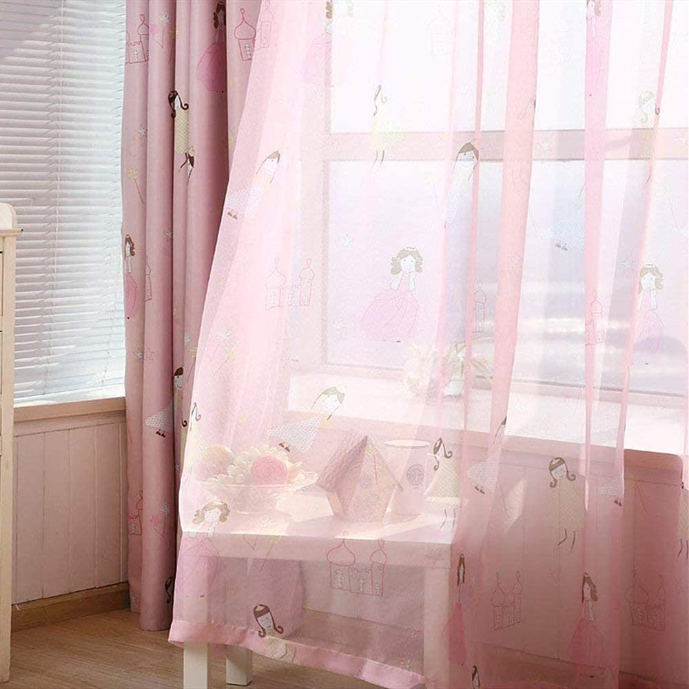 Gxi Cartoon Pink Sheer Curtains Panel Bed Cheap sale Long Girls for inch Save money 96