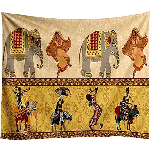 AdoDecor Tapiz de Pared Indio tapices de Elefante Tapiz Bohemio para Dormitorio Sala de Estar decoración del hogar Manta de Mandala Toalla de Playa 40x60 Pulgadas