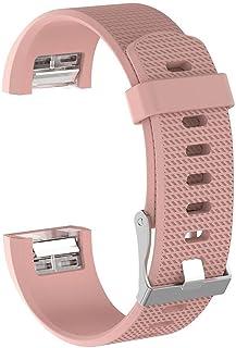 Fitbit CHARGE 2 Uyumlu Markacase LARGE Beden (L Size ) Silikon Kordon (Pembe)