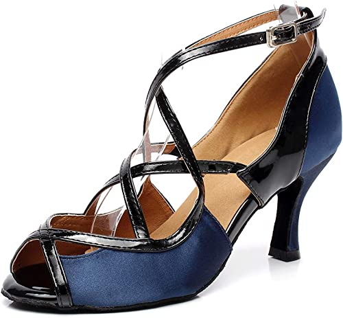Chaussures de Danse Cuir Femme Latine Satin PU Bout Ouvert Pointu Boucle Croix Moderne Salle de Bal Jazz Romaine Salsa 7.5CM