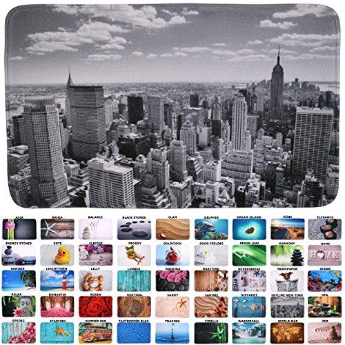 Sanilo Badteppich I viele schöne Badematten zur Auswahl I Badvorleger sehr weich & rutschfest I waschbar & schnelltrocknend (70 x 110 cm, Skyline New York)