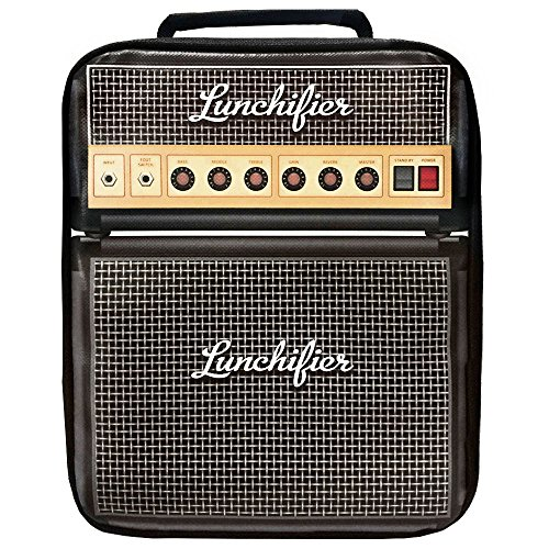 Mad Design/ Lunchifier, Amplifier Print Insulated Lunch Bag Cooler Tote, Gift for Men, Women, Kids, Musicians, Rock 'n Roll Electric Guitar Lovers and Rockstars
