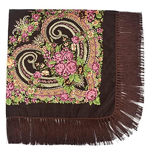 YSJJQSC Bandanas Folk Big Size SHAF Bufanda Bufanda Tassel Love Impresión Sombrilla de Sombrilla Pañuelos Pañuelos para Damas Marca de Lujo Algodón (Color : Brown, Size : 135 X 135cm)