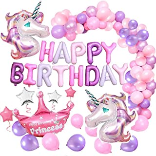 Unicorn Balloons 56 Pcs Decoration Sets, Happy Birthday Party Theme Party Backdrop, with Latex Pink Purple White Balloons,...