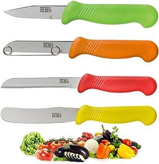Juego De Cuchillos De Preparación Profesional Para Catering: Color De Seguridad Alimentaria Coordinado. Pelador, Esparcidor De Mantequilla, Deshuesado De Verduras, Utilidad Dentada.