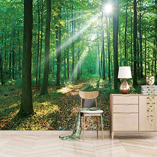 ZEISIX papel pintado habitacion foto en pared empapelar armario/Verde plantas maderas paisaje/Aplicar para salones niños niñas juvenil habitacion bebe guardería dormitorio matrimonio cabeceros