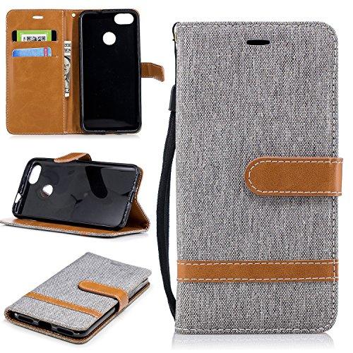 ZIBF030849 - Funda tipo cartera para Huawei Y6 Pro 2017 / P9 Lite, piel sintética, con función atril, con tarjetero y ranuras para tarjetas, color gris