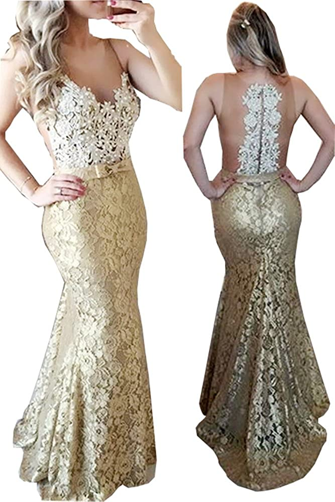 National products Fanciest Women's Pearls Lace Prom 2020 Mermaid Even Max 57% OFF Long Dresses