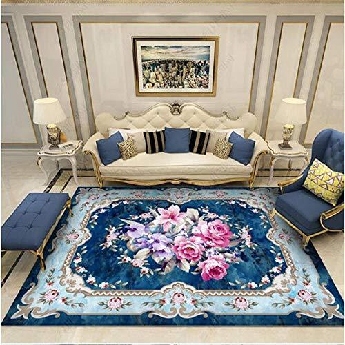alfombras exterior jardin Azul Alfombra de la sala de estar flor rosa patrón retro anti-torque alfombra fácil de limpiar hogar decoracion salon 200X300CM alfombras infantiles 6ft 6.7''X9ft 10.1''