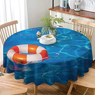 Glenn Longfellow Indoor/Outdoor Spillproof Tablecloth Buoy,Life Buoy in Crystal Clear Swimming Pool Summer Relaxing Vacation Sports Theme, Blue Orange White ,High-end Durable Creative Home 60