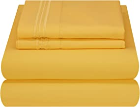 Mezzati Luxury Bed Sheet Set - Soft and Comfortable 1800 Prestige Collection - Brushed Microfiber Bedding (Yellow, Queen Size)