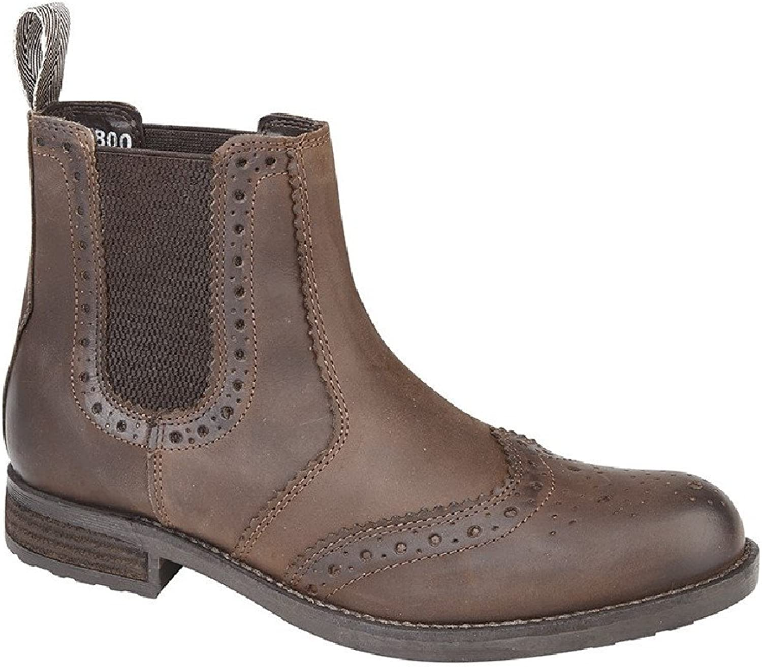Roamers Harry Twin Gusset Brogue Chelsea Ankle Boots - Brown Waxy Softie Leather, Mens UK 10   EU 44