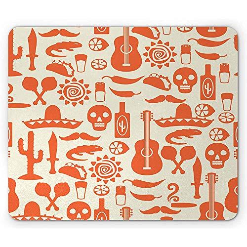 Mexikanische Mausunterlage,Südamerikanische Kultur Sombrero Mariachi Hüte Schädel Guiatar Tacos Print Rechteck rutschfeste Gummi Mousepad,Creme Orange