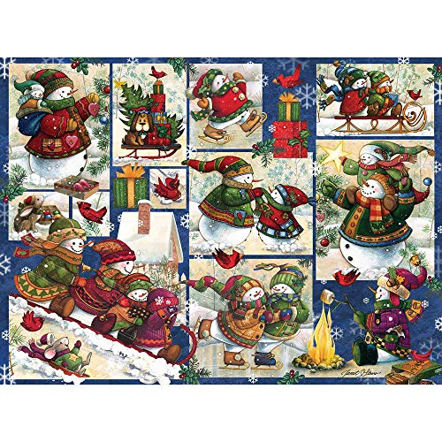 Bits and Pieces - 1000 Piece Jigsaw Puzzle for Adults 20 Inch x 27 Inch - Snow Families Quilt - 1000 pc Jigsaw by Artist Janet Stever