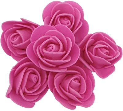 Delush Design Foam Artificial Flowers Roses Craft Decoration -(Pack of 100 pcs, Dark Pink)