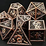 HAOMEJA DND Metal Dice Dragon Set 7 Role Playing Dice D&D Solid Dice Dungeons and Dragons Ancient Red Copper