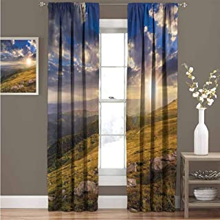 GUUVOR Nature Wear-Resistant Color Curtain Mountain Hills Landscape with Vibrant Sunlights on Meadow Misty Rural Panorama Waterproof Fabric Curtain 52