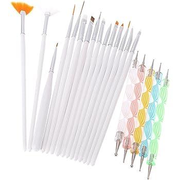 Goliton Nail Art Design Dotting Painting Drawing Polish Brush Pen Dotting Tools Set for Nail Art, Embossing Stylus for Painting (20PCS)