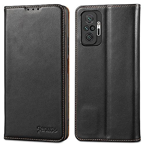 Jenuos Funda Xiaomi Redmi Note 10 Pro/Note 10 Pro MAX, Carcasa Libro Cuero Genuino Bloqueo RFID con Tapa Cierre Magnético y Ranura Tarjeta Piel Cartera para Redmi Note 10 Pro-Negro(MN10P-PD-BK