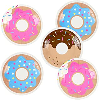 Pandecor 50 Pcs Donut 7 Inch Disposable Paper Dessert Plates for Donut Birthday Party Decoration (donut)