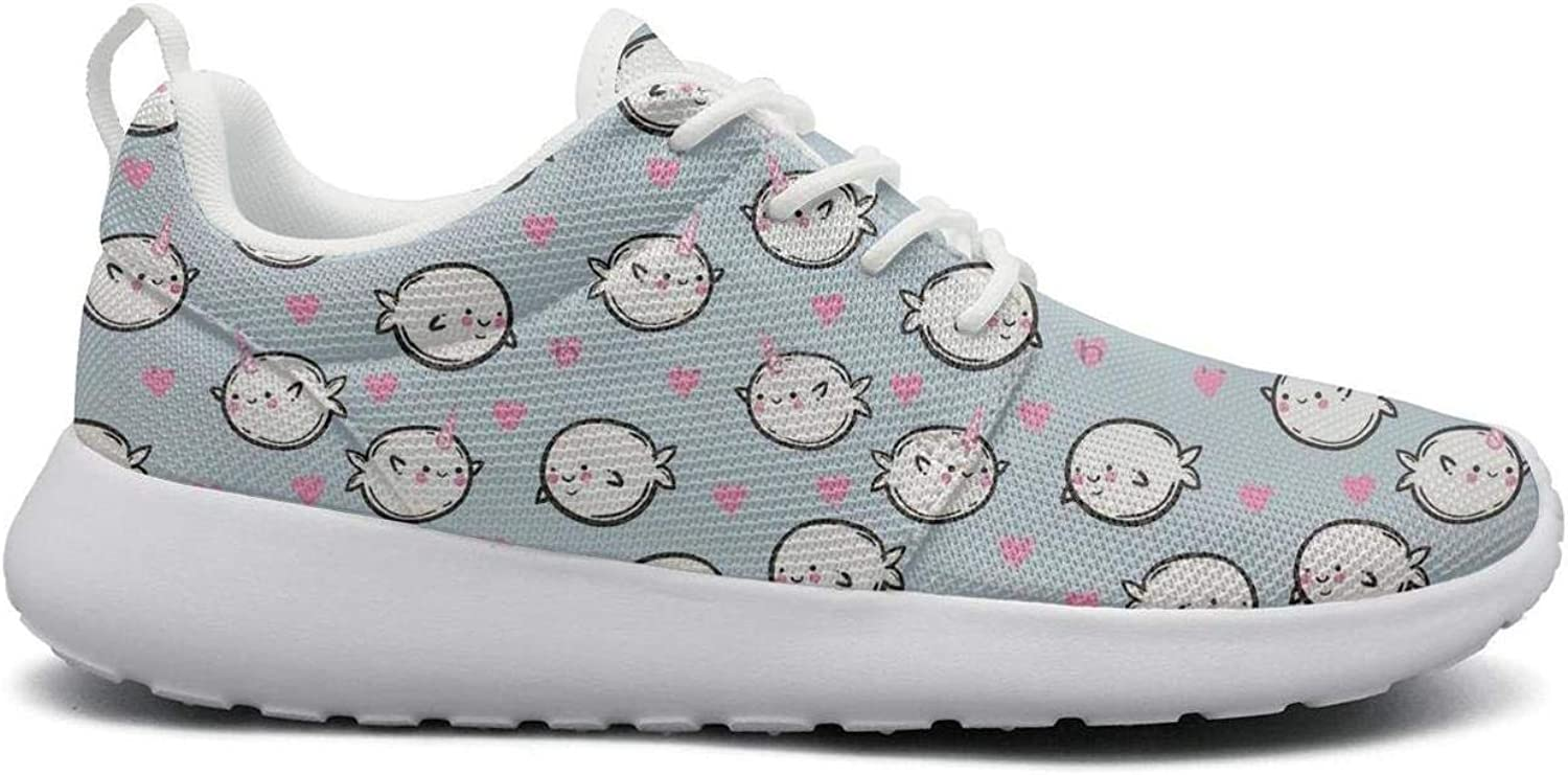 Ipdterty Wear-Resistant Outdoor Sneaker Cute Whales and Narwhals in Hearts Women's Cool Running shoes