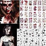 Halloween Scars Tattoos, Spider Tattoos,40 sheets,Halloween Zombie Makeup Kit Tattoos,Vampire Bite Tattoo, Halloween Waterproof fake blood tattoo, Safe Zombie Makeup Kit for Kids & Adults