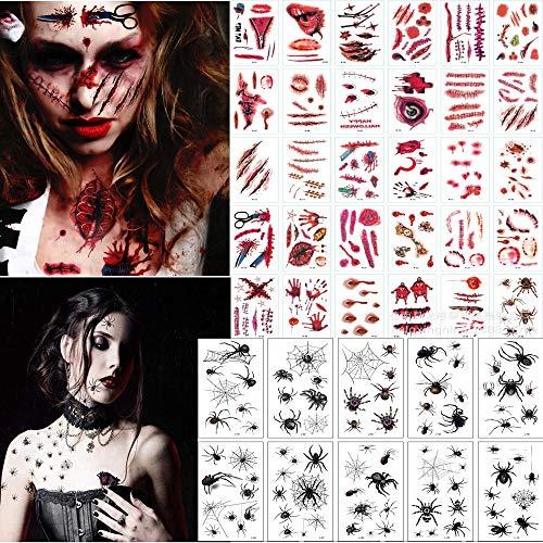 FZCRRDU KOCCAE Schaurige Spinnweben Tattoos, 40 Blatt Verschiedene Design Blätter, Halloween Zombie Narben Tattoos Aufkleber mit gefälschten Schorf Blut spezielle Körper Make-up Requisiten