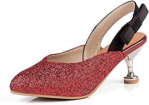 femmeschaussures Chaussures pour Femmes, Paillettes Mode Chaussures pour Femmes avec des Sandales Baotou Femmes,A,40