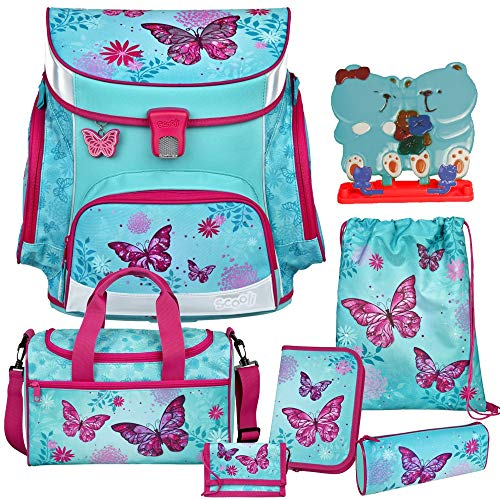 Butterfly - Schmetterling - SCOOLI Undercover Campus FIT PRO Schulranzen-Set 8tlg. - mit Sporttasche - LESESTÄNDER GRATIS!