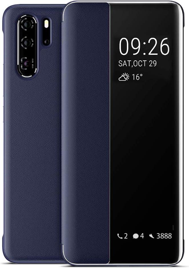 EUTDH Huawei P30 Pro Funda, Flip Cover Smart View [Auto Sleep & Wake Up] Funda de Cuero Carcasas Tapa Estuches Protectora Case Caso para Huawei P30 Pro 6.47