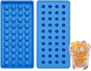Mini Ice Cube Trays 2 Pack, Silicone Small Ice Cube Tray, Easy Pop Out Ice Molds, Small Silicone Molds for Candy Chocolate Even Resin Casting Molds, BPA Free Non Sticky (Round Shape)