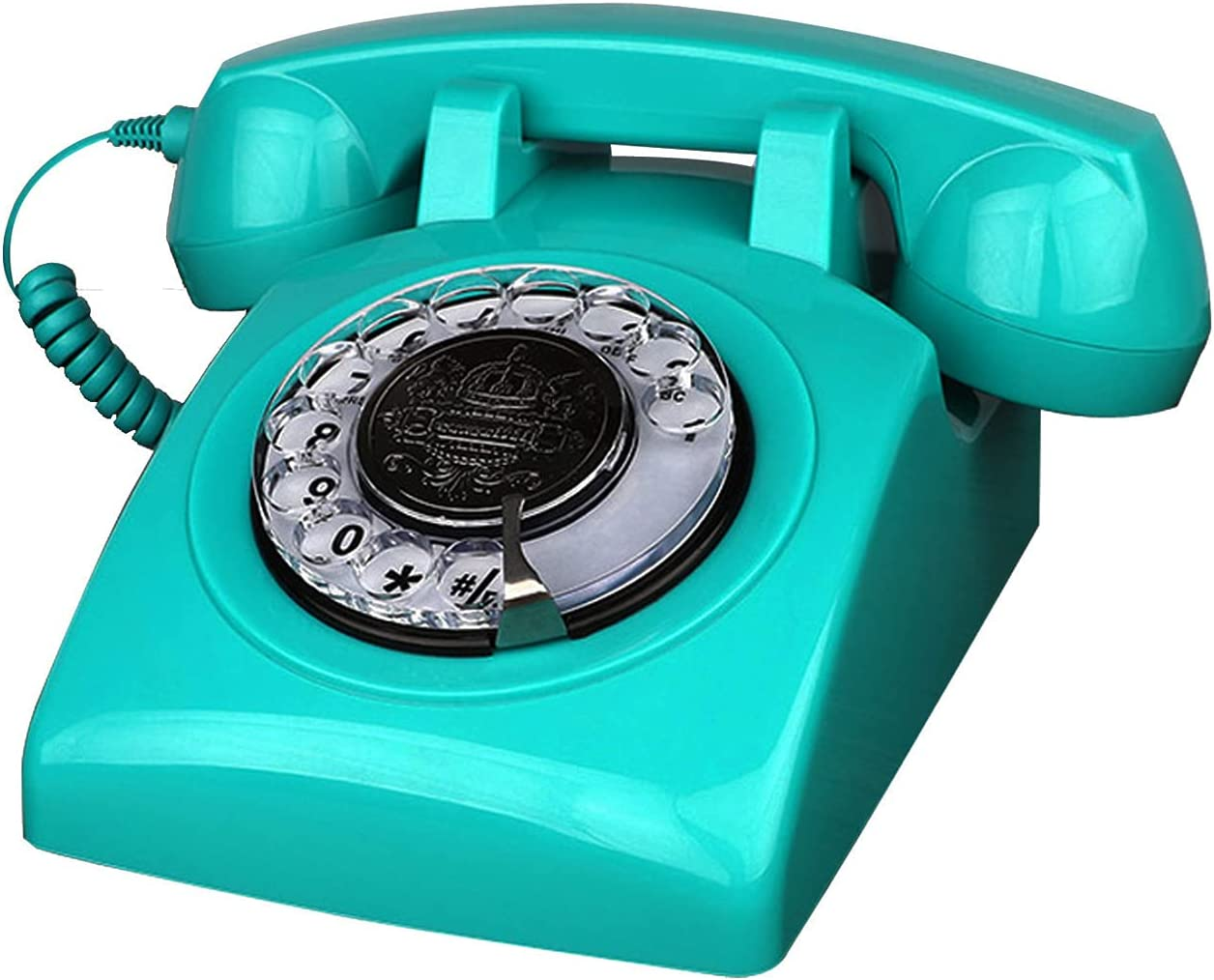 TelPal Retro Landline Phone, Corded Antique Vintage Phone with Old Fashion Rotary Dial Keypad, Decorative Classic 80s Phone for Gift
