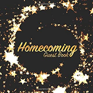 Homecoming Guest Book: Party keepsake for family and friends to write in (Square Gold Star Swirl)