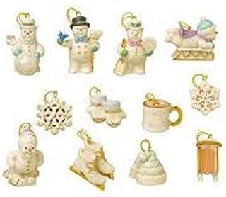 Lenox Snow Pals 12 Miniature Ornaments Set Snowman Skis Snowflake Skates NO TREE