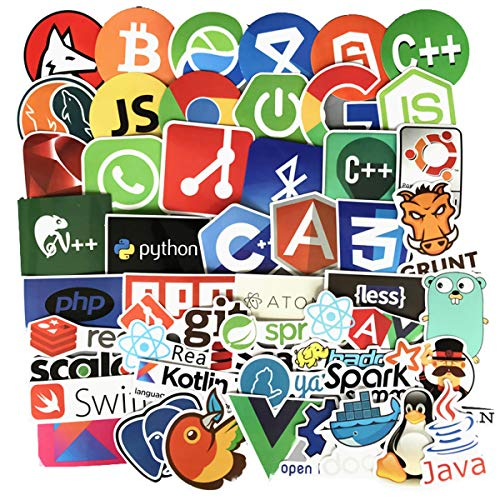 Laptop Stickers for Developer Programming Stickers of Front-end dev,Back-end Languages Stickers for Software Developers, Engineers, Hackers, Programmers, Geeks, and Coders (50PCS)